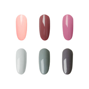 New Pack 6 Colors Grey and Pink Colors Gel Nail Polish Set JTA206-1