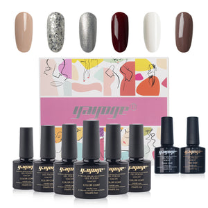 New Pack 6 Colors Gel Nail Polish & Base Top Coat Set JTA206-2