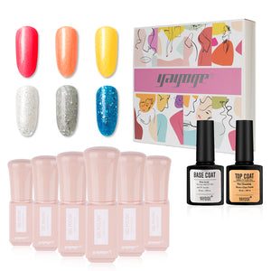 New Style 6 Colors Glitter Gel Nail Polish & Base Top Coat Set JTA306-2