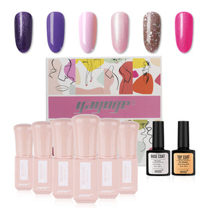 New Style 6 Colors Glitter Gel Nail Polish & Base Top Coat Set JTA306-3