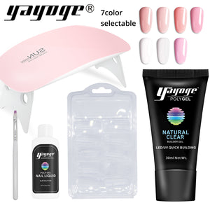 US WAREHOUSE Yayoge 5Pcs/Set PolyGel Set UV LED Quick Builder Nail Extension Hard Jelly Art DIY Kit - YAYOGE Official