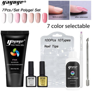 YAYOGE 7Pcs/Set Poly Gel Set UV LED Quick Extension Polygel Kit Gel Nail Polish Nail Salon - YAYOGE Official