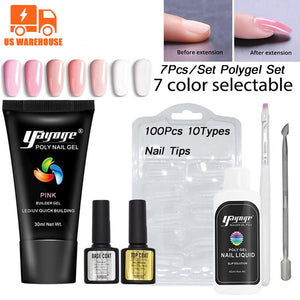US WAREHOUSE YAYOGE 7Pcs/Set Poly Gel Set uv LED Quick Extension Polygel Kit Gel Nail Polish Nail Salon - YAYOGE Official