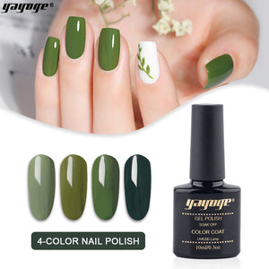 US WAREHOUSE Olive Green Gel Nail Polish Set S1-4P-A214