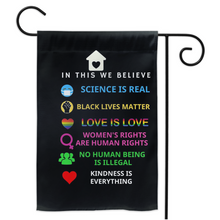 Load image into Gallery viewer, In This House We Believe Black Lives Matter Garden House Double Sided Flag Home Yard Lawn Patio Outdoor