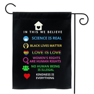 In This House We Believe Black Lives Matter Garden House Double Sided Flag Home Yard Lawn Patio Outdoor