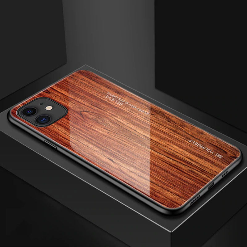Luxury Wood Grain Phone Case For iPhone XS Max XR X Soft TPU Edge Slim Glass Cover Case for iPhone XS MAX 11 Pro Coque Shell