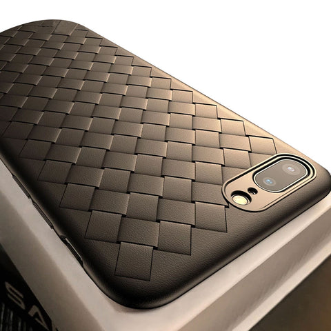 Beautiful Half-wrapped Fitted Weaved Grid Design Dirt Resistant Silicone Case for iPhone