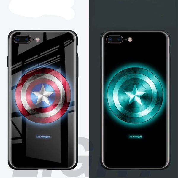 The Avengers Glowing Luminous Glass Case For iPhone XS MAX XR 6 7 8 6s Plus 7 Plus 8 Plus LED Light Up Logo Case Illuminate Covers