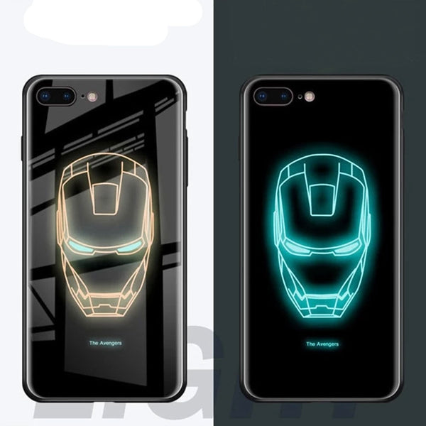Marvel Avengers Luminous Tempered Glass Phone Cases for iPhone 6 6s 7 8 Plus XS Max XR 10 8Plus 7Plus Batman Comic Ironman Covers