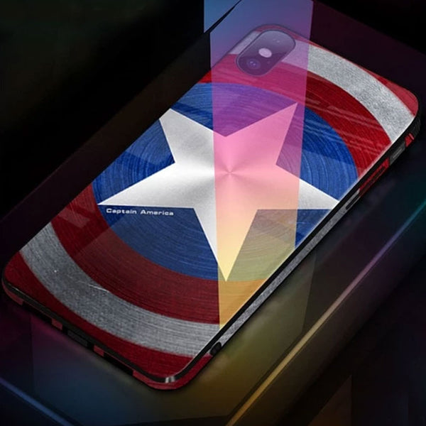 Glossy Venom Marvel Avengers Captain America Batman Iron Man Tempered Glass Phone Case For iPhone