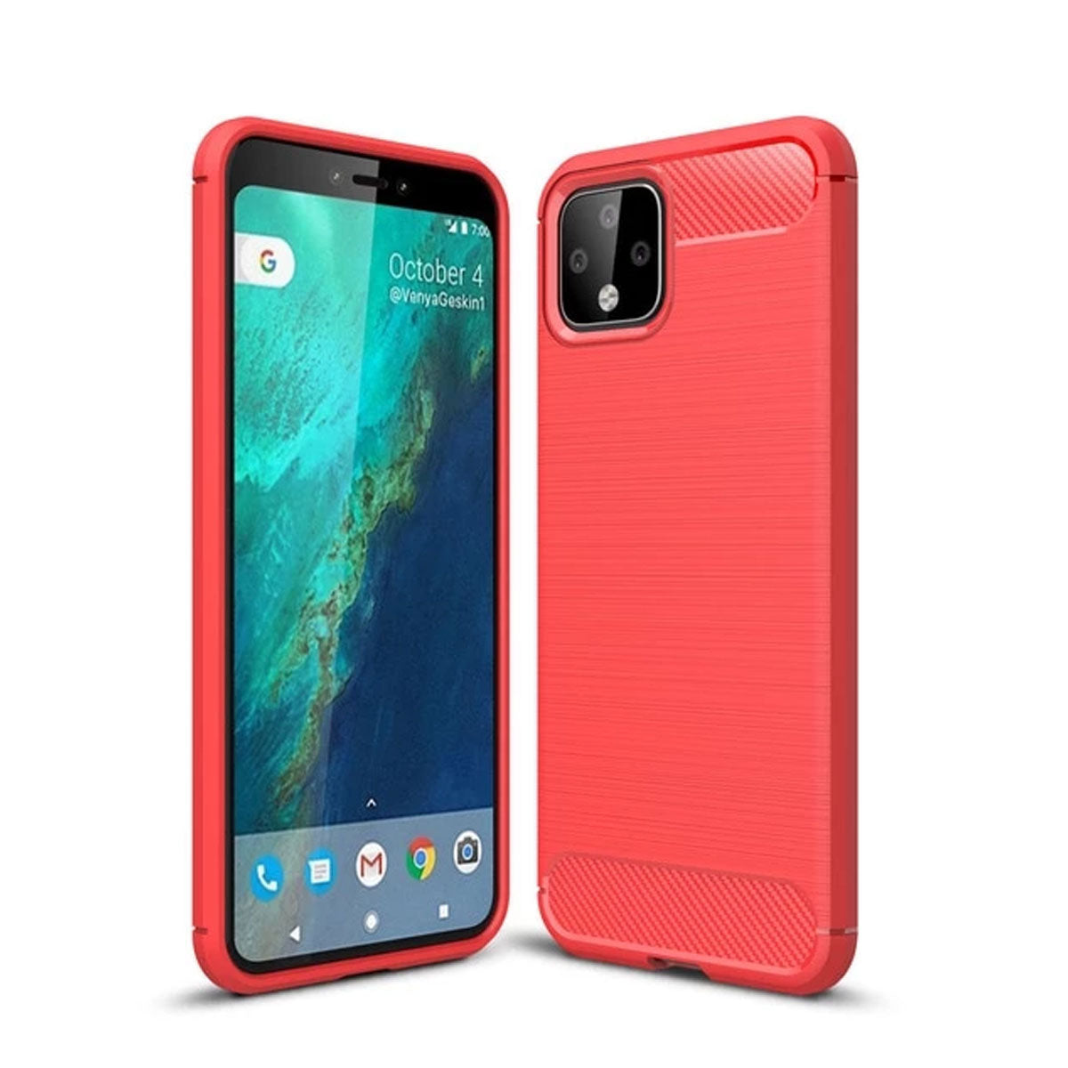 Micgita Cabon Fiber Silicone Case Brush TPU Cover For Google Pixel