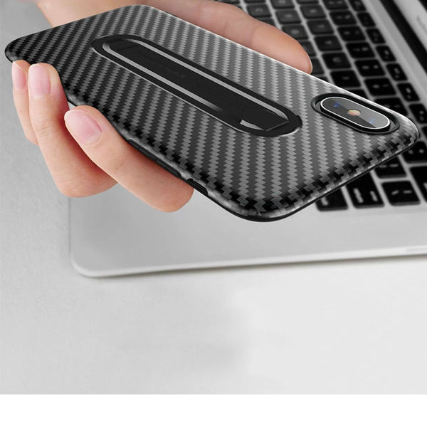 Carbon Fiber Ring Stand Case For iPhone 7 8 6 6s Plus Luxury Shockproof Soft Silicone Covers For iPhone X XR XS MAX Phone Shell