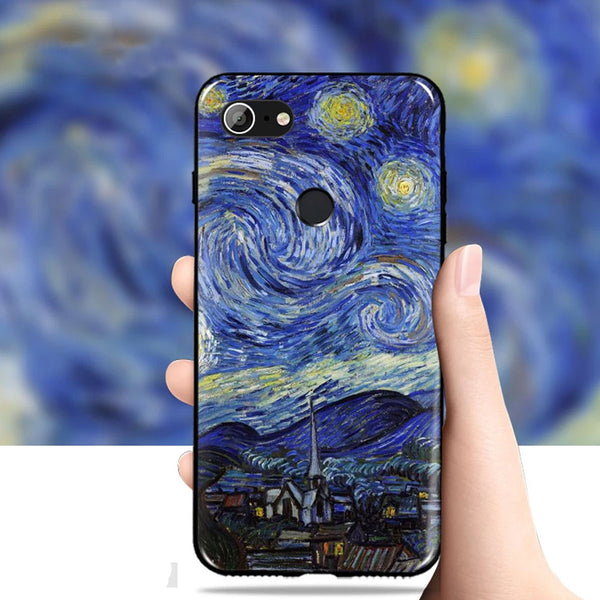 3D Cute Oil Painting Soft Silicone Vintage Matte Design Case with MIMAKI high-quality 3D UV printing