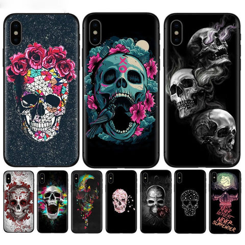 Gothic Skull Style Phone Cases With Soft Silicone Back Covers For Phone Models iPhone X
