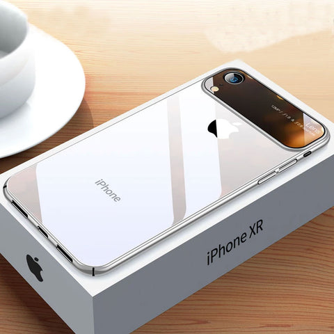 Uber Classy Glossy Delicate Glass Exterior Thin PC Transparent Back Glass Covers For iPhone