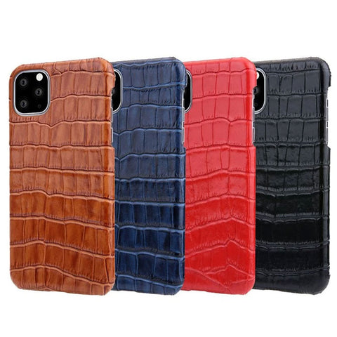 Genuine Leather Back Case For iPhone 11 Pro MAX Covers Luxury Alligator Phone Bag Case For iPhone11 Pro 11Pro Max Back Case