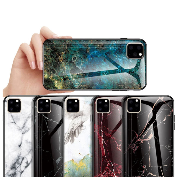 KEYSION Marble Tempered Glass Case For iPhone 11 11 Pro Max TPU Silicone Frame Hard Phone Covers For iPhone 11 Pro Max 2019 New