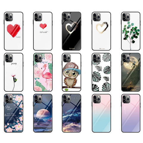 Gradient Tempered Glass Phone Case For iPhone 11 Pro Max 7 8 XR X 6S 6 Plus XS Max 11 Pro Covers Soft TPU Edge Covers Coque Funda