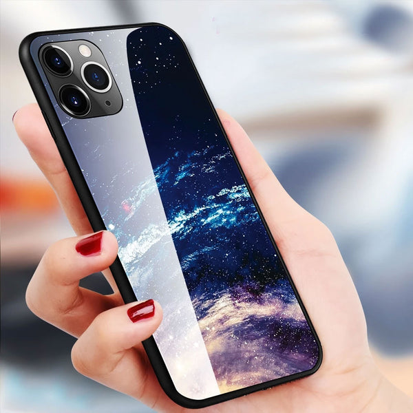 Case For iPhone 11 Pro Max XS XR X 8 Case Tempered Glass Starry sky For iPhone 8 7 Plus 6 6s 8 Plus 11 Pro Max 11Case Covers Capa
