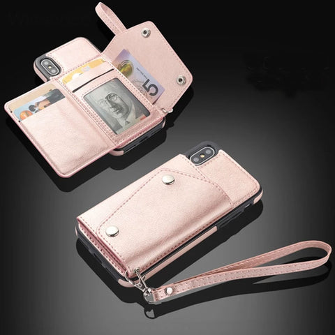 Classy Leather Anti-knock Dirt-resistant Card Holder Wallet Case Phone Covers Flip Case for iPhone
