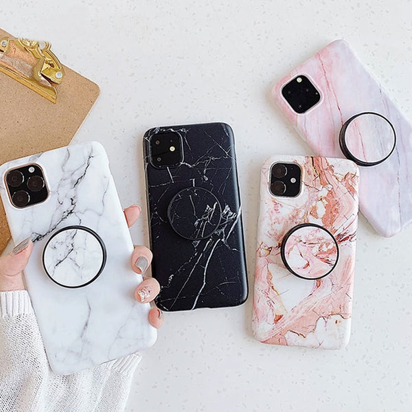 FLYKYLIN Holder Stand Marble Case For iPhone 11 Pro Max Back Covers