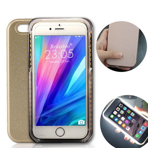 Case For iPhone 8 7 6s Plus 5s 5c se Flash Selfie Light Up Glowing Luxury Phone Case For Apple iPhone X i Phone 6 7 8 plus Covers