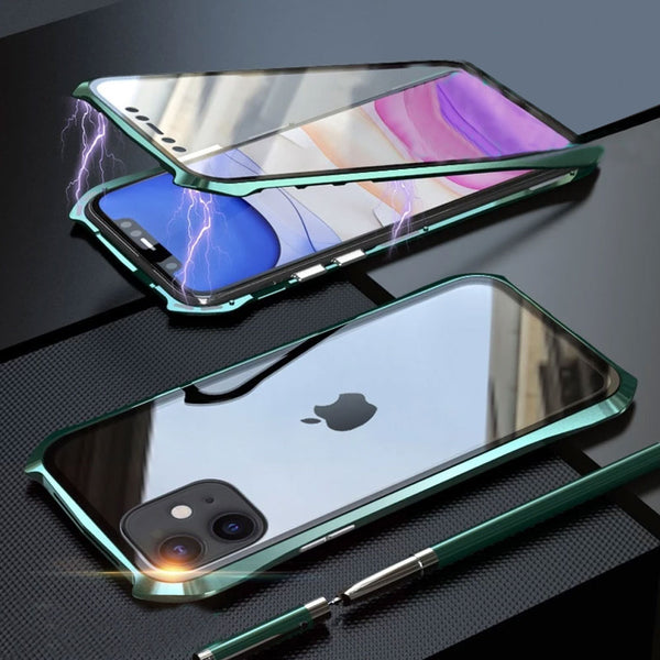 Magnetic Case For iphone 11 Pro Max Case 360 Front+Back double-sided 9H Tempered Glass Case for iphone 11 2019 Metal Bumper Case