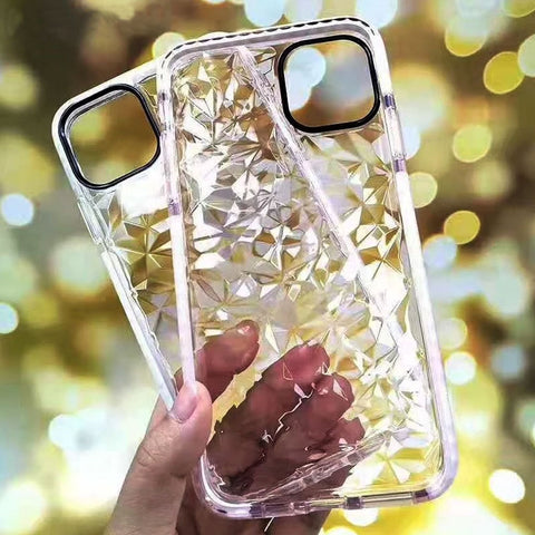 Clear Geometric Diamond Transparent Soft TPU Case For Apple iPhone XI 11 Cases 2019 Bling Rhombus Back Covers Fundas Capa Coque