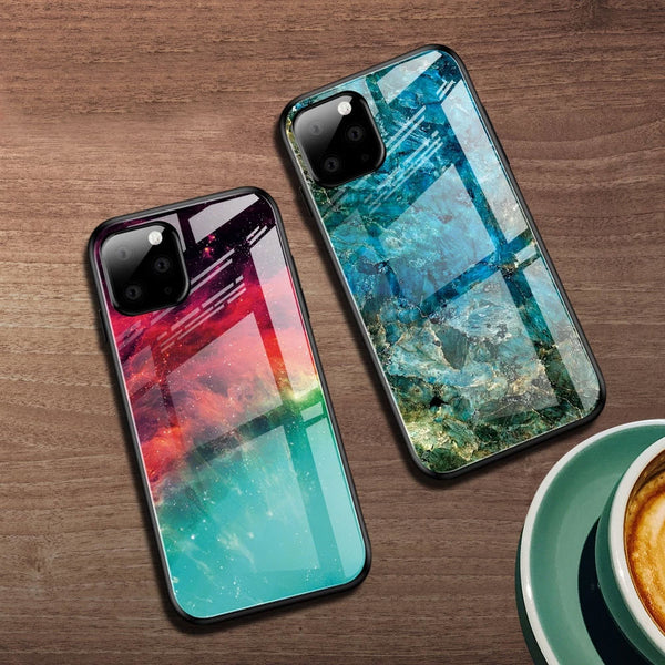 Eqvvol Gradient Tempered Glass Case For iPhone 11 Pro MAX X XS XR Starry Sky Covers For iPhone 7 8 Plus 6 6s Colorful Cases Coque