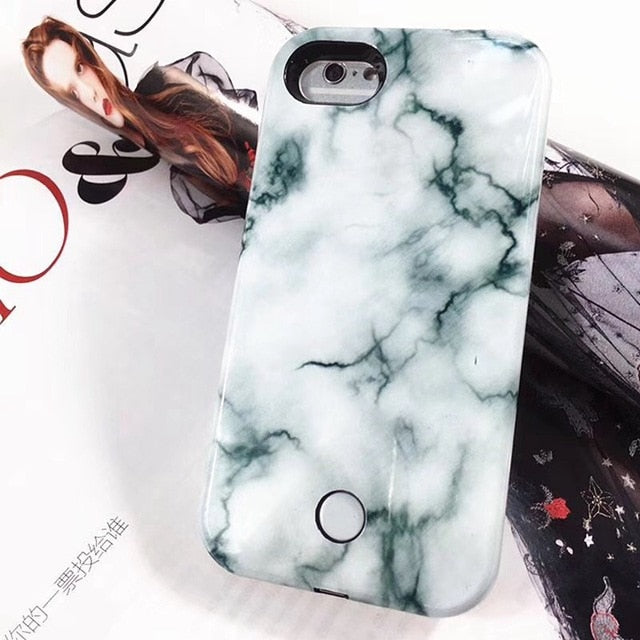 High Quality Marble Selfie Light Phone Case for iphone with Yellow Lights Flash