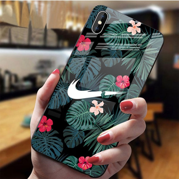 Street Sport Inspired Dirt-Resistant Anti-Knock Glossy Tempered Glass Fitted Case for iPhone
