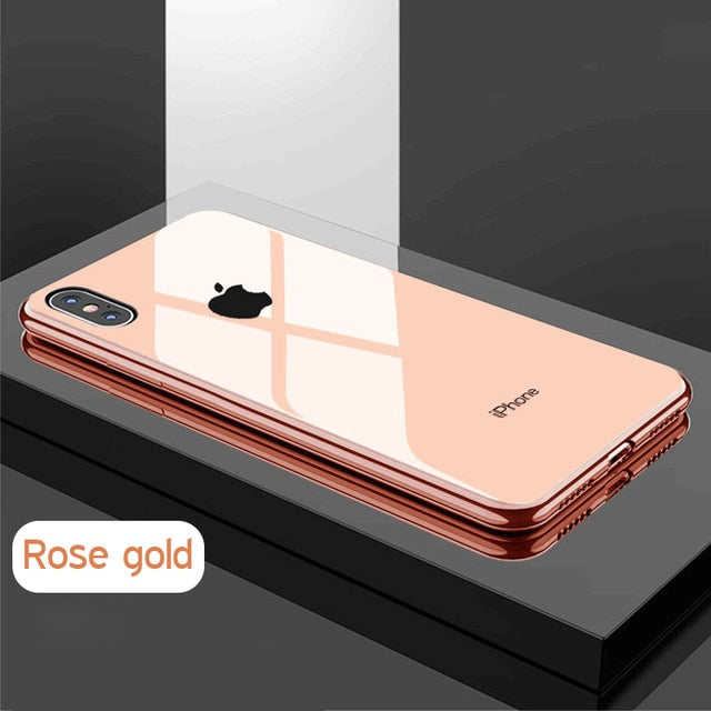 Tempered Glass PC panel soft edge Phone Case For iPhone