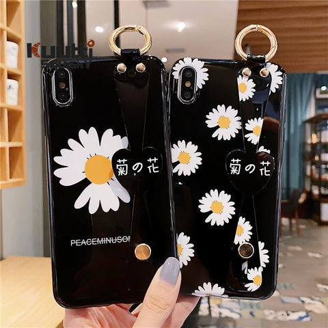 Beautiful Glossy Black Daisy Flower Print Wrist Band & Key Ring Detail Phone Covers for iPhone