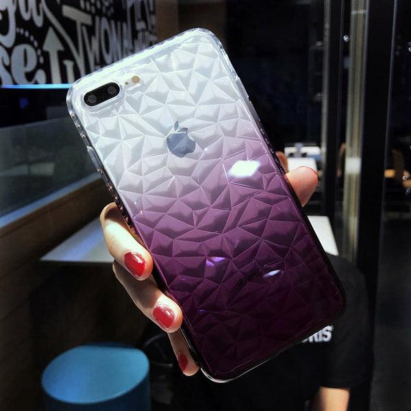 Soft Silicone TPU Glossy Sparkling Transparent Geometric Patterned Dirt-Resistant iPhone Covers