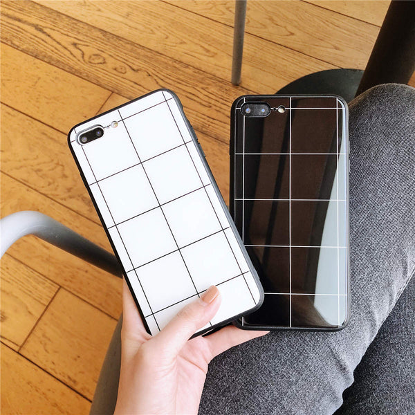 Simple Grid Print Air Cushion Technology Clear Hybrid Drop Protection Anti Knock Fitted Case for Apple iphone