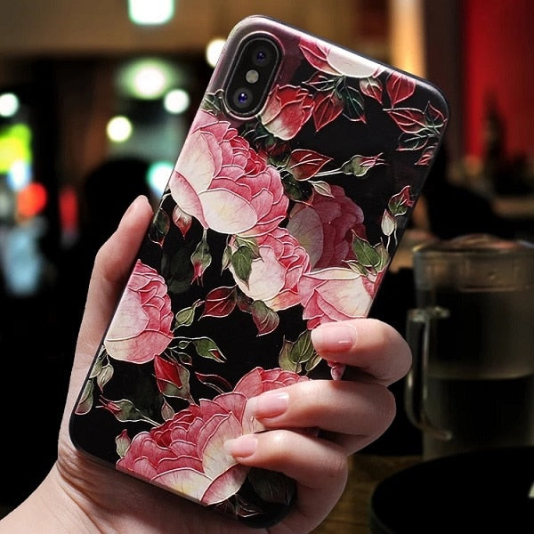 Beautiful & Classy 3D Print Emboss Colorful Floral Design Soft TPU Phone Case for iPhone