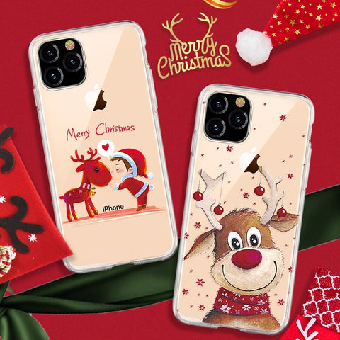 Case For iPhone 11 Pro XS MAX XR 8 7 6 6S Plus Christmas Santa Claus Snowman Case For iPhone 11 XI MAX XIR XI PRO XI Case Coque