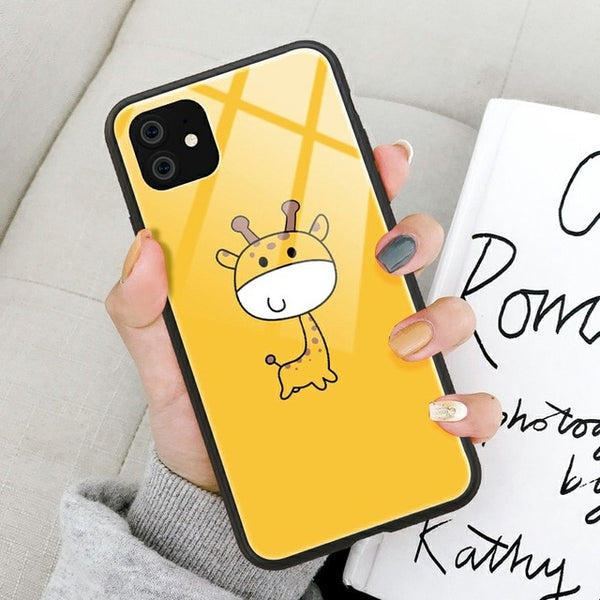 Tempered Glass Phone Case For iPhone 11 2019 On iPhone 11 Pro Max Cute Cartoon Animal Back Covers