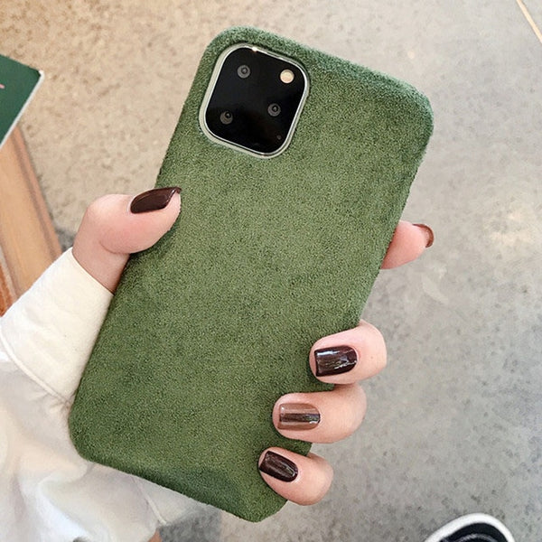 Fashion Solid Color Plush Covers Case For iPhone Xs MAX Xr 6 7 8plus  Suede for iPhone 11 Pro Max Soft Phone Back Shell Case Capa