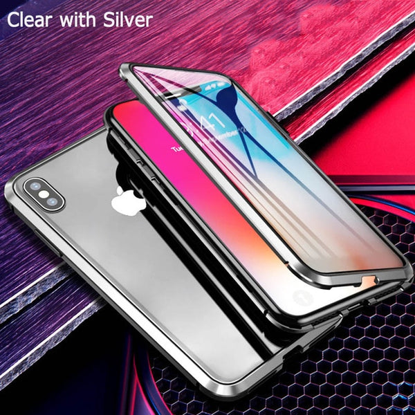 9H Double Sided Magnetic Adsorption Metal Glass Case For iPhone 11 Pro For iPhone 7 8 XS Max XR X 6 Full Protective Covers Coque