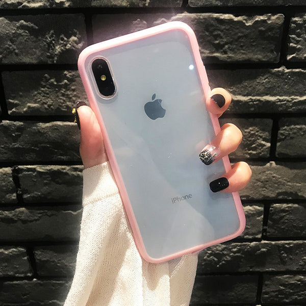 Silicone New Acrylic Phone Case For iPhone 11 X XS XR XS Max 8 7 6 6S Plu Stpu All-inclusive Soft Shell Drop Protection Covers