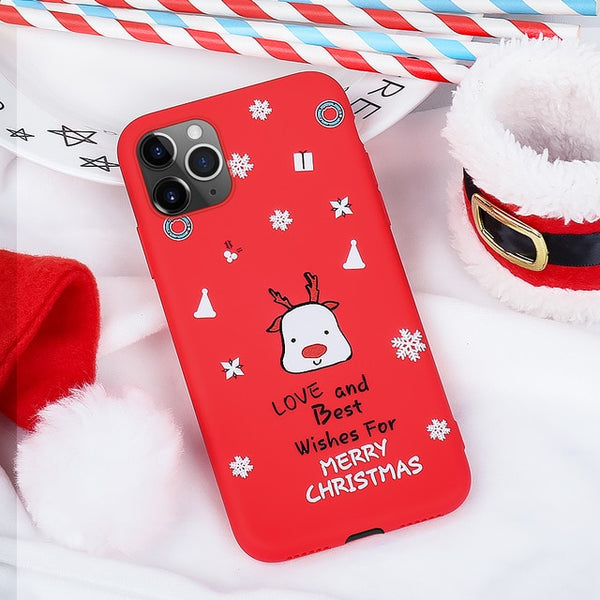 Christmas Phone Case For iPhone 11 Pro Max 6 6S 7 8 Plus XS X XS MAX XR Snowman Santa Claus Patterned Litchi Case For iPhone 11