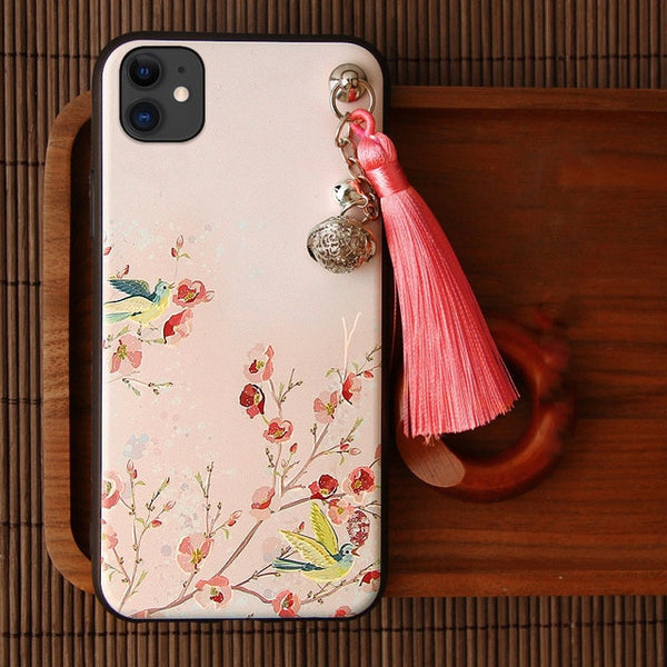 3D Relief Case for iPhone 11 Pro Max XS XR X 10S 7 8 6 6S Plus Case Emboss Tassel Bell Anti-knock Soft Covers for Apple XS Shell