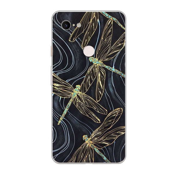 ciciber Tree Leaves Dragonfly Cover Fundas for Google Pixel 3 3XL Soft Silicone TPU Phone Case for Google Pixel 2 2XL Coque Capa