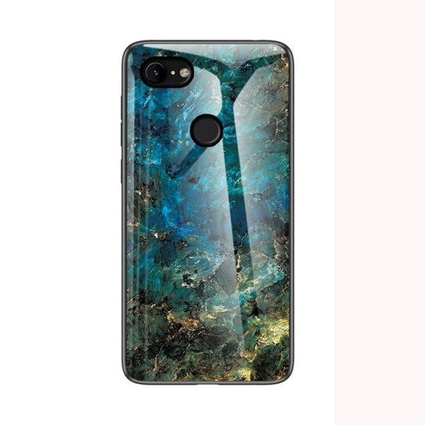 Stylish Marble Design Fitted Tempered Glass Shockproof 360 Full Covers Pattern Protective Glass Case for Google Pixel