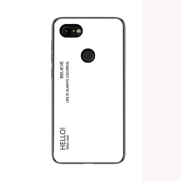 For Google Pixel 2 3 3a XL Colorful Gradient Tempered Glass Case Soft Silicone Edge For Google 2 3 3a XL in Fitted Cover Case