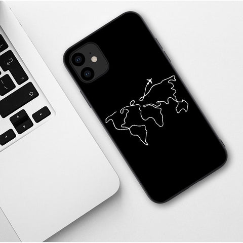 World Map Travel Just Go Soft Phone Cases for iPhones 11 Pro Max 2019 plane silicone Cover For iPhones