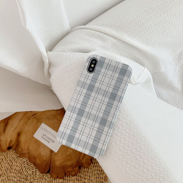 Warm Grid Plaid Phone Case For iphone 11 11ProMax Case  Salable PC Fabric Cover for iphone 11 Pro XsMax XR X 6 7 8Plus