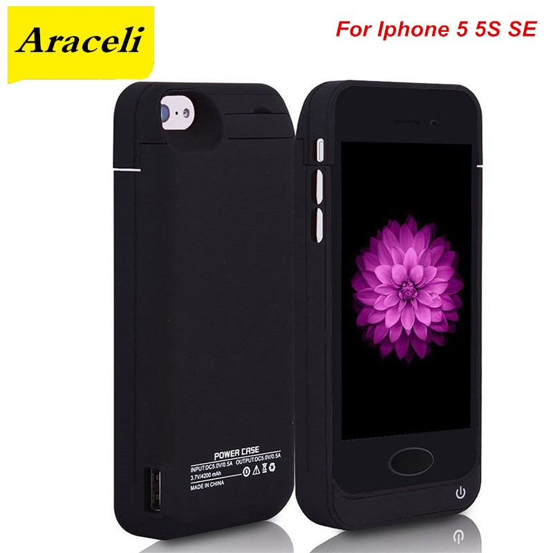 For Iphone 5 5S SE Battery Case 4200 Mah Charger Case Smart Phone Cover Power Bank For iphone 5 Battery Case
